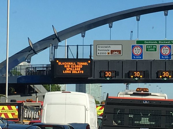 Blackwall Tunnell closed after fuel spill until at least 5pm